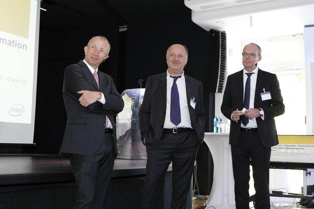 Drei wichtige Protagonisten auf dem CIO Summit: Professor Walter Brenner von der Uni St. Gallen, Ralf Steinbach von Danone und Martin Heisig von SAP (Foto: Joachim Wendler